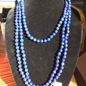 "80"" 8mm Round Lapis Lazuli Bead Endless Necklace"